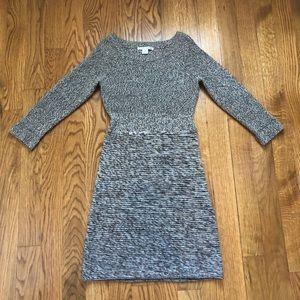 Maggy London Brown Knit Sweater Midi Dress